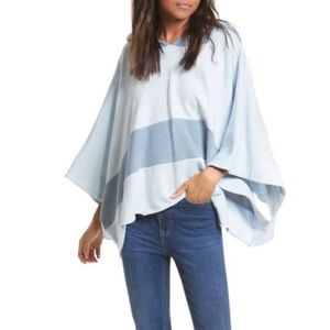 Free People Blue Never Say Never Hooded Poncho
